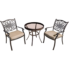 Traditions 3PC Bistro Set in Tan with 30 in. Glass-Top Table - TRADDN3PCG