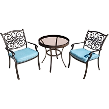Traditions 3PC Bistro Set in Blue with 30 In. Glass-top Table - TRADDN3PCG-BLU