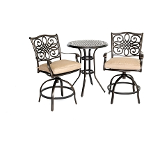 Hanover Traditions 3-Piece High-Dining Bistro Set in Tan - TRADDN3PCSW-BR