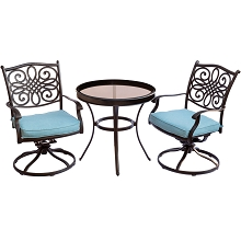 Traditions 3PC Swivel Bistro Set in Blue with 30 in. Glass-top Table - TRADDN3PCSWG-B