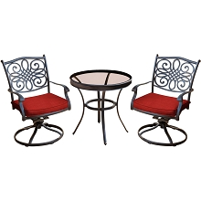 Hanover Traditions 3-Piece Swivel Bistro Set in Red with a 30 in. Glass-top Table - TRADDN3PCSWG-R