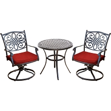 Hanover Traditions 3-Piece Bistro Set in Red with a 32 in. Cast-Top Table - TRADDN3PCSW-RED