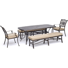 Hanover Traditions 5-Piece Outdoor Dining Set in Tan with Two Dining Chairs, Two Benches, and a 72