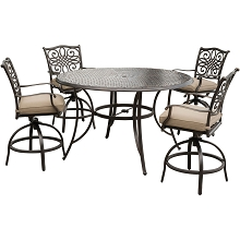 Traditions 5PC High-Dining Bar Set in Tan with 56 In. Cast-top Table - TRADDN5PCBR