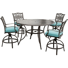 Hanover Traditions 5-Piece High-Dining Set in Blue with Four Swivel Chairs and a 56 In. Cast-top Table - TRADDN5PCBR-BLU