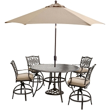 Traditions 5PC High-Dining Bar Set in Tan with Cast-top Table, 9 Ft. Umbrella, and Umbrella Stand - TRADDN5PCBR-SU