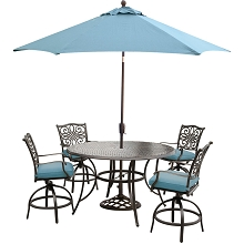 Traditions 5PC High-Dining Bar Set in Blue with Cast-top Table, 9 Ft. Umbrella, and Base - TRADDN5PCBR-SU-B