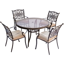 Traditions 5PC Dining Set in Tan with 48 In. Glass-top Table - TRADDN5PCG