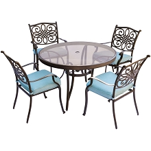 Traditions 5PC Dining Set in Blue with 48 In. Glass-top Table - TRADDN5PCG-BLU