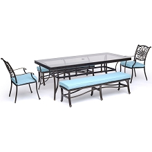 Hanover Traditions 5-Piece Outdoor Dining Set in Blue with Two Dining Chairs, Two Benches, and a 42