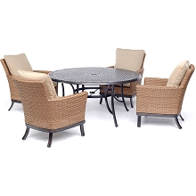 Hanover Traditions 5-Piece Dining Set with Four Woven Arm Chairs and a 60 In. Cast-Top Table - TRADDN5PCOSRD4