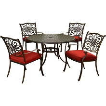 Hanover Traditions 5-Piece Dining Set in Red with 48 In. Cast-top Table and Four Dining Chairs - TRADDN5PC-RED