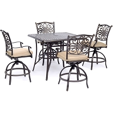 Hanover Traditions 5-Piece High-Dining Set in Tan with a 42 In. Square Cast-top Table - TRADDN5PCSQBR