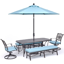 Hanover Traditions 5-Piece Dining Set in Blue with 2 Swivel Rockers, 2 Benches, a 38