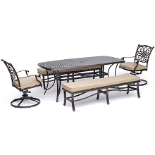 Hanover Traditions 5-Piece Patio Dining Set in Tan with 2 Swivel Rockers, 2 Cushioned Benches, and a 38