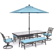 Hanover Traditions 5-Piece Patio Dining Set in Blue with 2 Rockers, 2 Benches, Glass-Top Table, and an 11 Ft. Umbrella with Stand - TRADDN5PCSW2GBN-SU-B