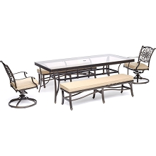 Hanover Traditions 5-Piece Patio Dining Set in Tan with 2 Swivel Rockers, 2 Cushioned Benches, and a 42