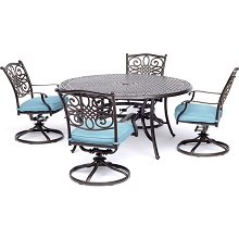Traditions 5PC Dining Set with Four Swivel Rockers in Blue - TRADDN5PCSW-BLU