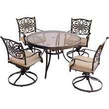 Traditions 5PC Dining Set in Tan with 48 In. Glass-top Table - TRADDN5PCSWG