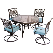 Traditions 5PC Dining Set in Blue with 48 In. Glass-top Table - TRADDN5PCSWG-BLU