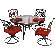Hanover Traditions 5-Piece Dining Set in Red with a 48 In. Glass-top Table - TRADDN5PCSWG-RED