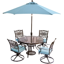 Traditions 5PC Dining Set in Blue with 48 In. Glass-top Table, 9 Ft. Umbrella, and Stand - TRADDN5PCSWG-SU-B
