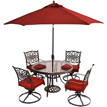 Hanover Traditions 5-Piece Dining Set in Red with 48 In. Glass-top Table, 9 Ft. Table Umbrella, and Umbrella Stand - TRADDN5PCSWG-SU-R