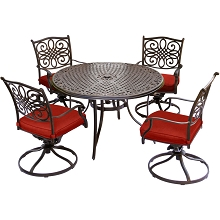 Hanover Traditions 5-Piece Dining Set with Four Swivel Rockers in Red and a 48 In. Cast-top Table - TRADDN5PCSW-RED