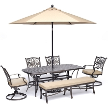 Hanover Traditions 6-Piece Dining Set in Tan with 4 Swivel Rockers, 1 Bench, a 38