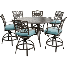 Hanover Traditions 7-Piece High-Dining Set in Blue with 56 In. Cast-top Table - TRADDN7PCBR-BLU