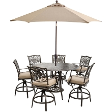 Hanover Traditions 7-Piece High-Dining Set in Tan with 9 Ft. Table Umbrella and Stand - TRADDN7PCBR-SU