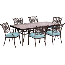 Traditions 7PC Dining Set in Blue with Extra Large Glass-Top Dining Table - TRADDN7PCG-BLU