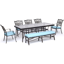 Hanover Traditions 7-Piece Outdoor Dining Set in Blue with 5 Dining Chairs, a Cushioned Bench, and a 42
