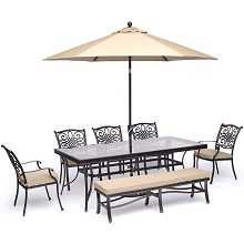 Hanover Traditions 7-Piece Dining Set in Tan with 5 Chairs, Bench, a 42