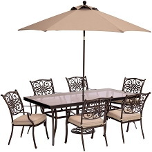 Traditions 7PC Dining Set in Tan with XL Glass-Top Table, 9 Ft. Umbrella, and Base - TRADDN7PCG-SU
