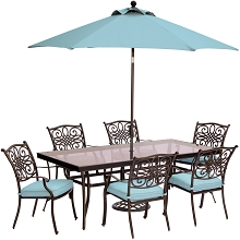 Traditions 7PC Dining Set in Blue with XL Glass-Top Table, 9 Ft. Umbrella, and Umbrella Base - TRADDN7PCG-SU-B