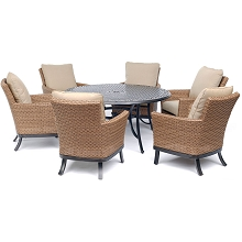 Hanover Traditions 7-Piece Dining Set with 6 Woven Arm Chairs and a 60 In. Cast-Top Table - TRADDN7PCOSRD6