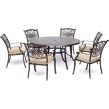 Hanover Traditions 7-Piece Dining Set in Tan with Six Dining Chairs and a 60 In. Cast-top Table - TRADDN7PCRD