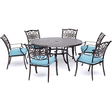 Hanover Traditions 7-Piece Dining Set in Blue with Six Dining Chairs and a 60 In. Cast-top Table - TRADDN7PCRD-BLU
