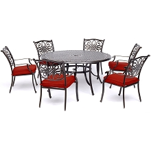 Hanover Traditions 7-Piece Dining Set in Red with Six Dining Chairs and a 60 In. Cast-top Table - TRADDN7PCRD-RED