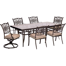 Traditions 7PC Dining Set in Tan with Extra Large Glass-Top Dining Table - TRADDN7PCSW2G