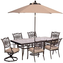 Traditions 7PC Dining Set in Tan with XL Glass-Top Table, 9 Ft. Umbrella, and Umbrella Base - TRADDN7PCSW2G-SU