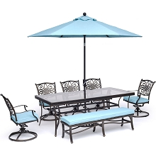 Hanover Traditions 7-Piece Dining Set in Blue with 5 Swivel Rockers, Bench, 42