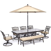 Hanover Traditions 7-Piece Dining Set in Tan with 5 Swivel Rockers, Bench, 42