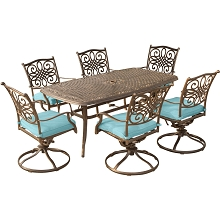Traditions 7PC Dining Set in Blue with 72 x 38 in. Cast-top Table - TRADDN7PCSW6-BLU