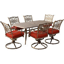Hanover Traditions 7-Piece Dining Set in Red with 72 x 38 in. Cast-top Table - TRADDN7PCSW6-RED