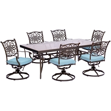 Traditions 7PC Dining Set in Blue with Extra Large Glass-Top Dining Table - TRADDN7PCSWG-B