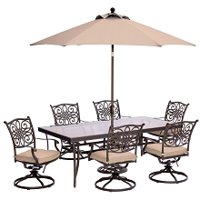 Traditions 7PC Dining Set in Tan with XL Glass-Top Table, 9 Ft. Umbrella, and Stand - TRADDN7PCSWG-SU