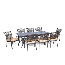 Traditions 9PC Dinning Set with Stationary Chairs- TRADDN9PC