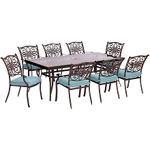 Traditions 9PC Dining Set in Blue with Extra-Long 84 x 41 In. Glass-Top Dining Table - TRADDN9PCG-BLU